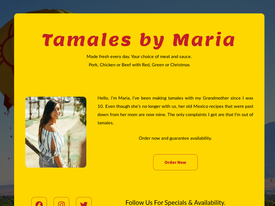 Your Simple Website Solution Tamales by Maria